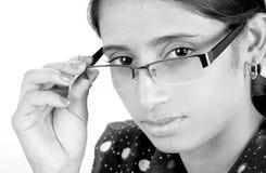 眼睛女孩玻璃 免版税图库摄影
