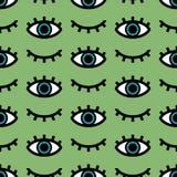 眼睛的传染媒介无缝的样式开放和闭合在绿色背景 皇族释放例证