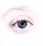 眼睛被反射的世界 库存照片