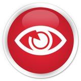眼睛象优质红色圆的按钮 免版税库存图片