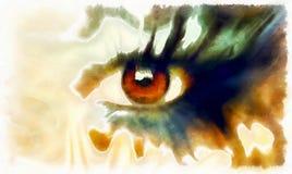 眼睛绘画拼贴画,抽象颜色构成 免版税库存照片