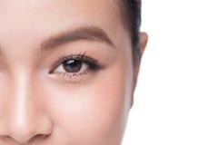 眼睛 美丽的亚裔妇女特写镜头有棕色眼睛的组成阴影 免版税图库摄影