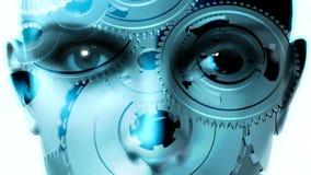 眼睛&面孔-转动在头脑里的齿轮 向量例证