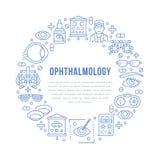 眼科学,眼睛医疗保健有线的象圈子搬运工 视力测定设备,隐形眼镜,眼睛玻璃,医生 皇族释放例证