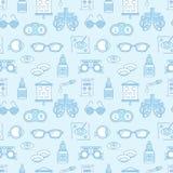 眼科学,眼睛医疗保健无缝的样式,医疗传染媒介蓝色背景 视力测定设备,隐形眼镜 向量例证
