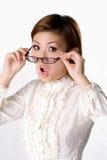 眼镜惊奇妇女 免版税库存照片