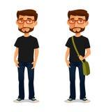 戴眼镜的动画片人 库存照片