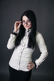戴眼镜的女孩 库存照片