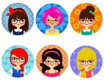 戴眼镜的女孩 向量例证