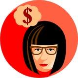 戴眼镜的时髦的女人作梦关于金钱 平面 免版税库存照片