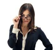 戴眼镜的秘书 免版税库存照片