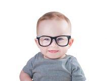 戴眼镜的聪明的婴孩 免版税库存图片