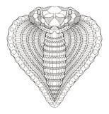 眼镜蛇蛇心脏形状头zentangle传统化了,传染媒介 图库摄影