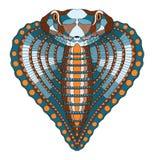 眼镜蛇蛇,心脏形状头zentangle传统化了,导航, illust 免版税库存图片