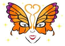 戴着一个花梢蝴蝶面具的夫人 编辑可能的剪贴美术 库存照片