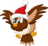 戴着圣诞老人帽子的动画片猫头鹰 图库摄影