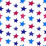 着墨与星的手拉的无缝的样式在7月4日的颜色 库存例证