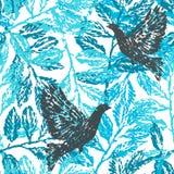 着墨与月桂树分支和鸽子的手拉的无缝的样式 库存例证