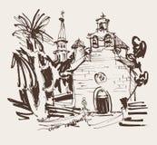 着墨历史的教会图画与棕榈在布德瓦黑山 库存例证