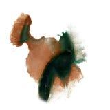 着墨在白色背景隔绝的泼溅物水彩黑色褐色染料液体水彩宏观斑点污点纹理 库存图片