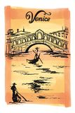 着墨桥梁Rialto, Venezia,意大利传染媒介剪影例证威尼斯的图画 免版税库存照片