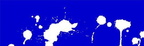 着墨飞溅、污点、冲程和污点 绘泼溅物背景 蓝色和白色传染媒介例证 抽象难看的东西模板 免版税图库摄影