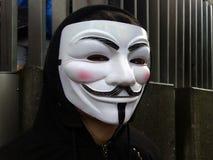 戴着盖伊・福克斯面具的匿名小组成员 免版税库存照片