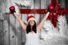 戴着红色拳击手套的妇女的综合图象 免版税库存照片