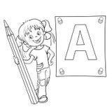 着色一个动画片女孩的页概述有铅笔和大le的 免版税库存图片