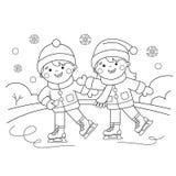 着色动画片男孩页概述有女孩滑冰的 kiting的河滑雪多雪的体育运动冬天 库存例证