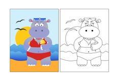 着色图片,动物,在海滩的夏天河马 皇族释放例证