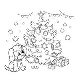 着色圣诞树页概述与装饰品和礼物的与小狗 狗的年 圣诞节 新年度 免版税库存图片