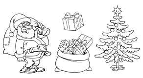 着色圣诞老人字符、一个袋子与礼物和圣诞节t 免版税库存照片