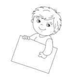 着色拿着标志的逗人喜爱的男孩页概述 免版税库存照片