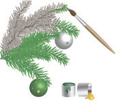 着色油漆和刷子云杉的分支与圣诞节玩具 免版税库存照片