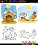 着色的农厂和伴随动物 免版税库存图片