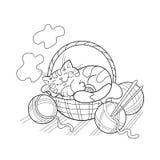 着色睡觉在篮子的一只逗人喜爱的猫的页概述 免版税库存图片