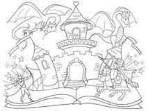 着色神仙开放书传说概念哄骗与邪恶的龙、勇敢的战士和魔术城堡的例证 免版税库存图片