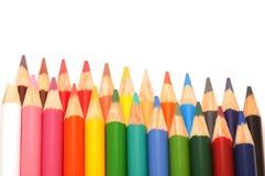 着色铅笔两行  库存图片