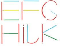 着色铅笔字母表信件设置了E-K 免版税库存照片