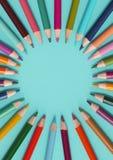 着色铅笔边界-蓝色 免版税库存照片