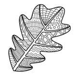 着色页有装饰装饰品的橡木叶子 免版税库存照片