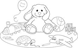 着色页玩具 免版税库存图片