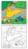 着色页蜗牛的动画片例证孩子的 免版税库存图片