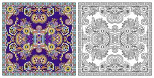 着色页,成人的彩图,地道地毯desig 向量例证