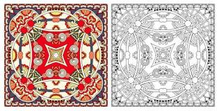 着色页,成人的彩图,地道地毯desig 皇族释放例证