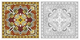 着色页,成人的彩图,地道地毯desig 库存例证