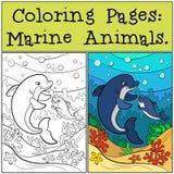 着色页:海生动物 母亲海豚游泳 免版税库存图片