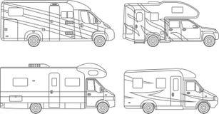 着色页 套不同的剪影汽车,在白色背景的旅行拖车平的线性象 现代 库存例证