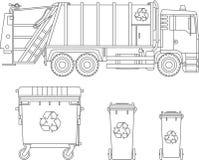 着色页 套垃圾车和大型垃圾桶平的线性传染媒介象的不同的类型在白色背景隔绝的 Vecto 库存例证